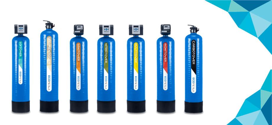 seria Ecoperla Tower do ekonomicznego uzdatniania wody w domach